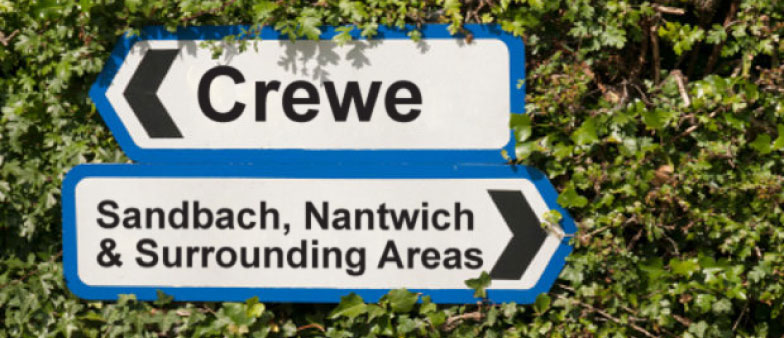 Signs showing directions to Crewe, Sandbach, Nantwich and the Surrounding Areas
